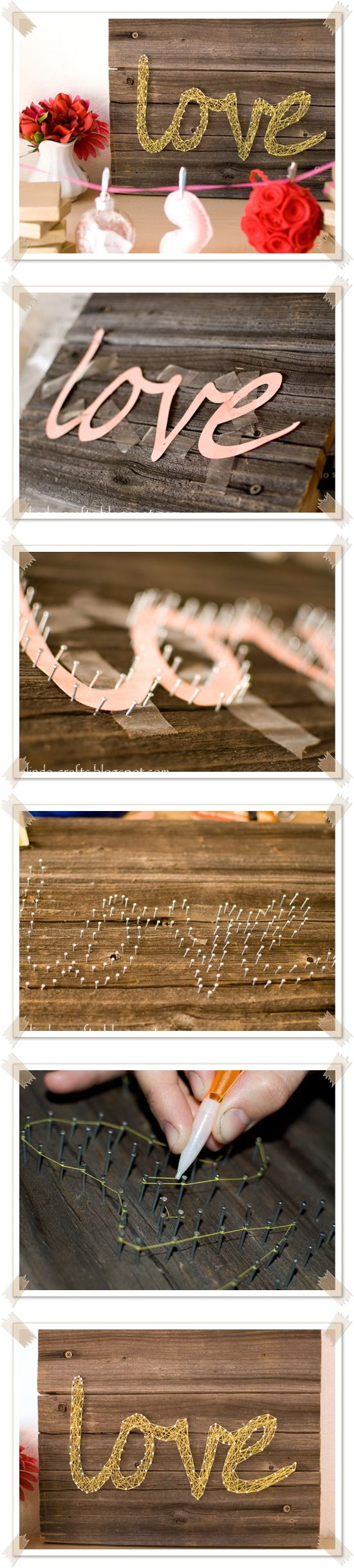 String Wall Art for Valentines Day : DIY and Craft Tutorials