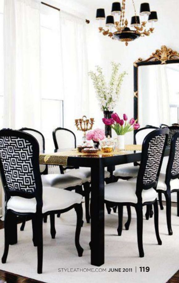 Glamorous Dining Room With Glossy Black Parsons Dining Table, Black French  Chairs Upholstered In White U0026 Black Greek Key Fabric With White Leather  Cushions, ...