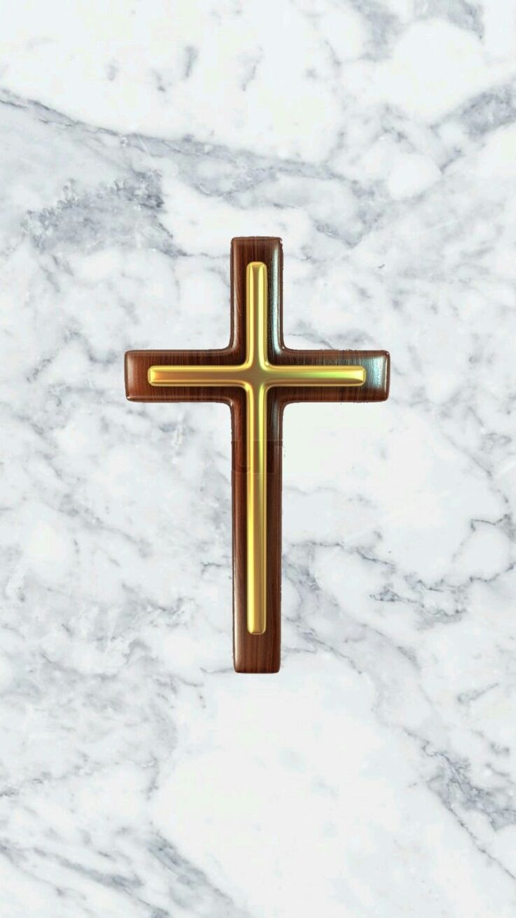 Small gold cross on marble iPhone wallpaper (With images