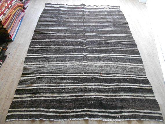 Hand Woven Vintage Black Grey And White Stripe Kilim 335 Orİgİn Malatya