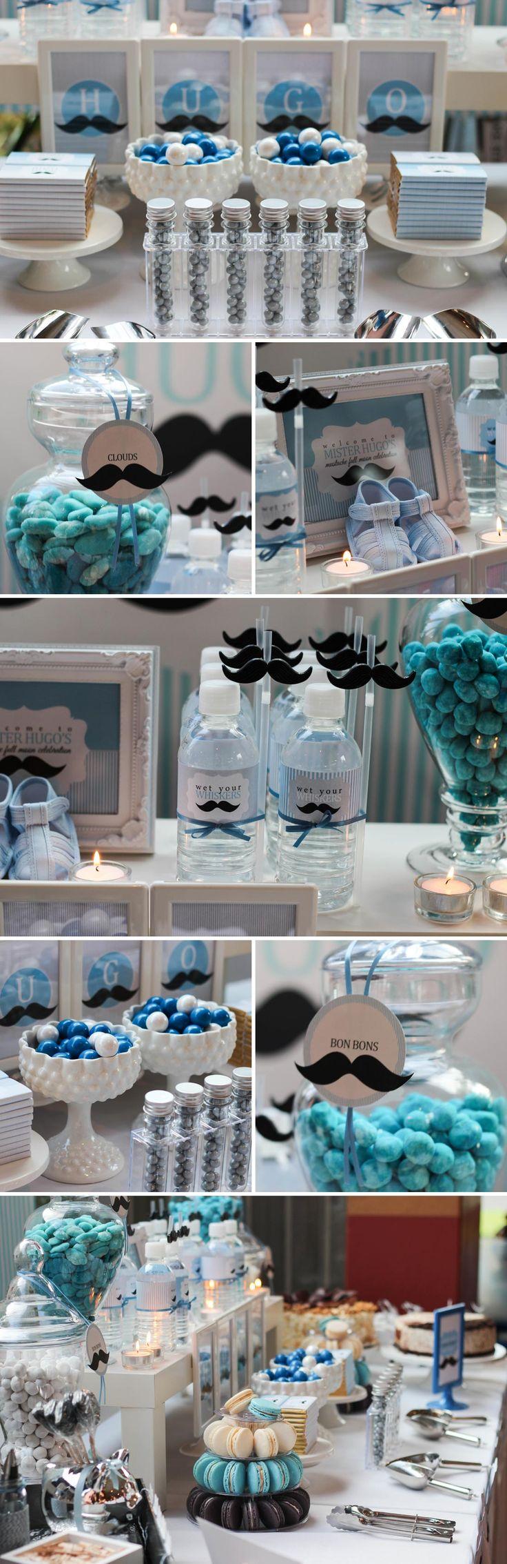Hugo's Full Month Mustache Themed Dessert Table | The Little Umbrella