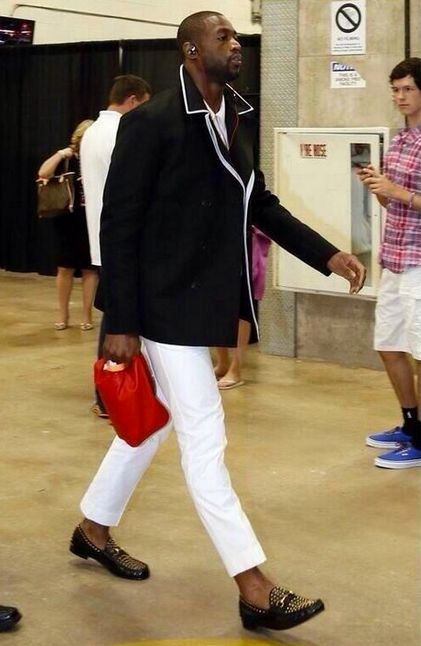 Men's Fashion Flash: Dwyane Wade's NBA Finals Game 4 Gucci Black Canvas Peacoat and Roos Studded Leather Loafers