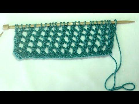 Aprende a tejer el punto de red en dos agujas - YouTube
