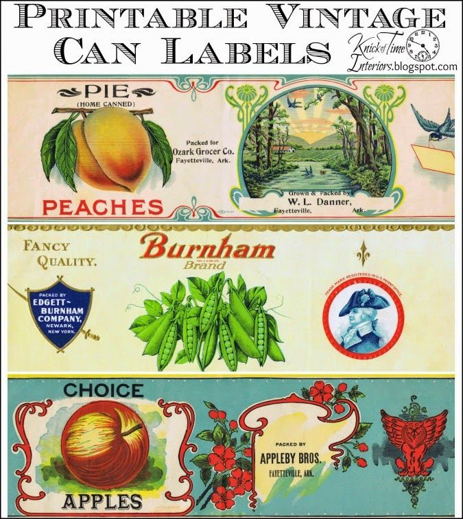 Antique Tin Can Fruit Label Free Printables via http://knickoftimeinteriors.blogspot.com/