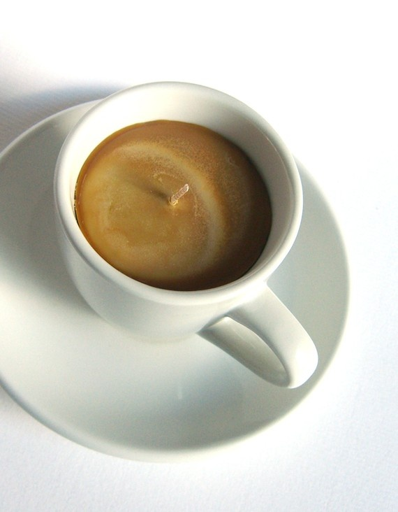 Adorable espresso shot candles. Such a cute wedding favor, re-usable cup and saucer. http://www.etsy.com/shop/kokocandles