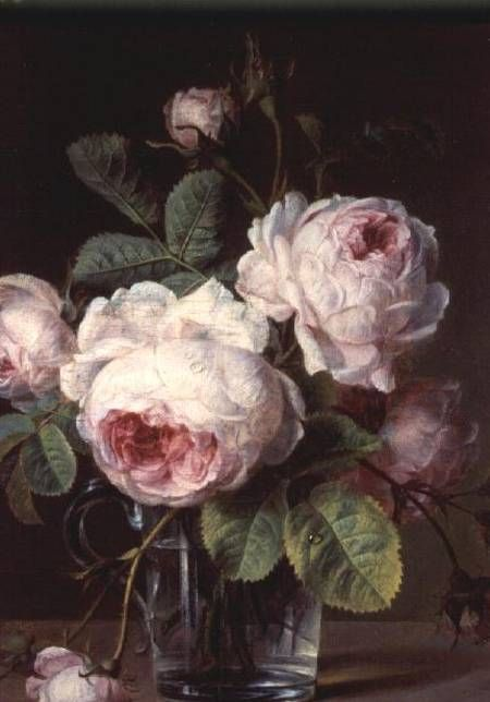 Roses in glass vase on  ledge  De Koolroos van Cornelis van Spaendonck (1756-1839)