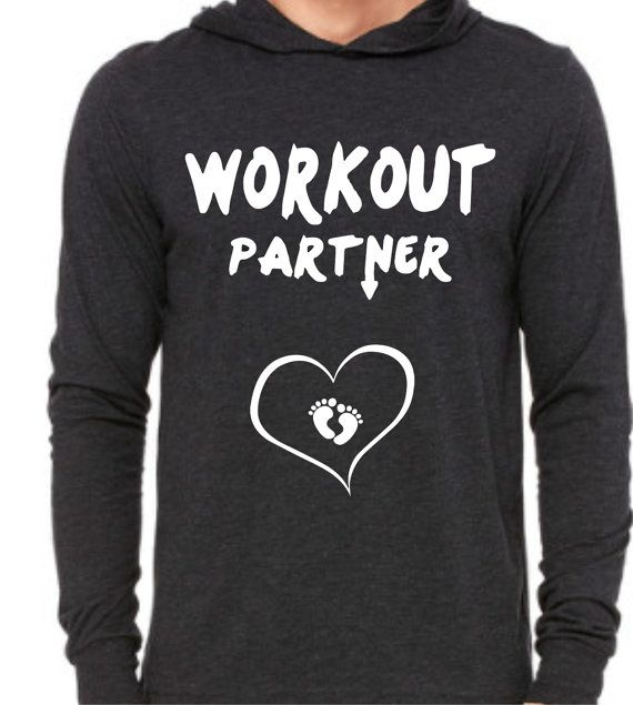 WORKOUT PARTNER with baby feet heart Pregnant Ladies Unisex Jersey Long-Sleeve Hoodie  Super Comfy Soft   Pregnant Women So Cute