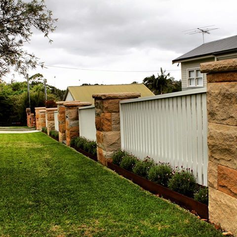 sandstone and timber fence - Google Search