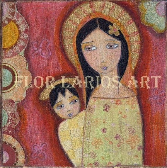 Madonna II Print  from Painting by FLOR LARIOS  7x 7 by FlorLarios, $15.00