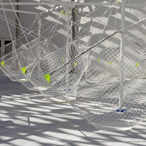 Industrial designer Konstantin Grcic's designed these temporary seats made of netting suspended from a metal structure