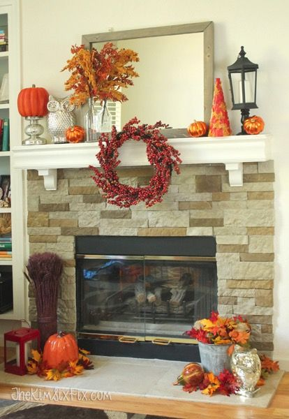 My Orange, Red, and Gold Fall Mantel via www.TheKimSixFix.com