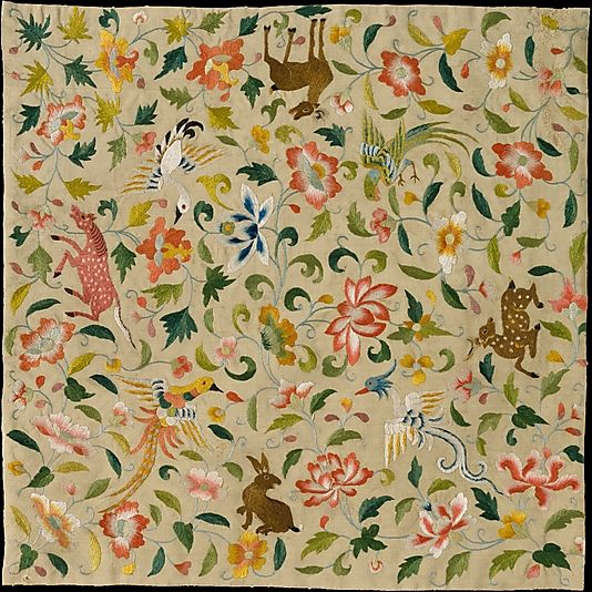 Textile with Animals, Birds, and Flowers, late 12th-14th century, Eastern Central Asia, silk embroidery on plain-weave silk. Metropolitan Museum of Art.: 12Th 14Th Century, Central Asia, Embroidery Patterns, Late 12Th 14Th, Asian Art, Eastern Central, Flower, Metropolitan Museums, Animal