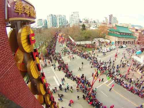 View of Vancouver's Chinese New Year's parade in Chinatown