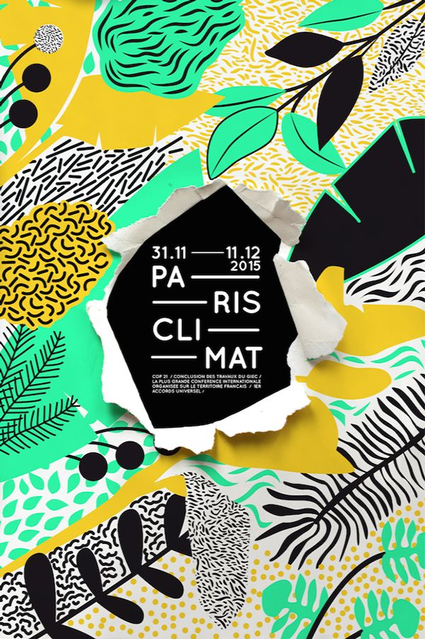 unique and interesting graphic design paris climat 2015 poster by louise harling