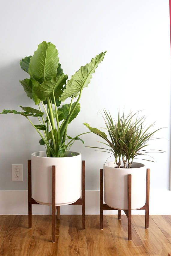 Large Mid Century Modern Planter Plant Stand Plant Pot With Etsy In 2020 Mid Century Modern Planter Modern Planters Mid Century Modern Plant Stand