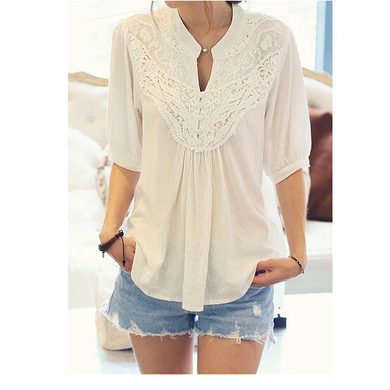 Sexy Lace Lady Tops Fashion Lace Splicing Flower Casual Blouse