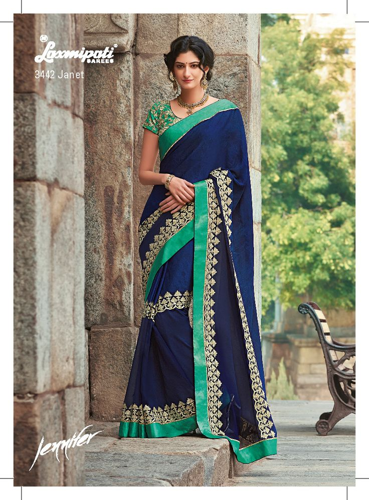 The vibrant Navy blue color saree is made up of two fabrics- Georgette and crape jacquard. The rich niam zari sequence work on saree  with heavy embroidery blouse gives a glamorous touch to the drape.