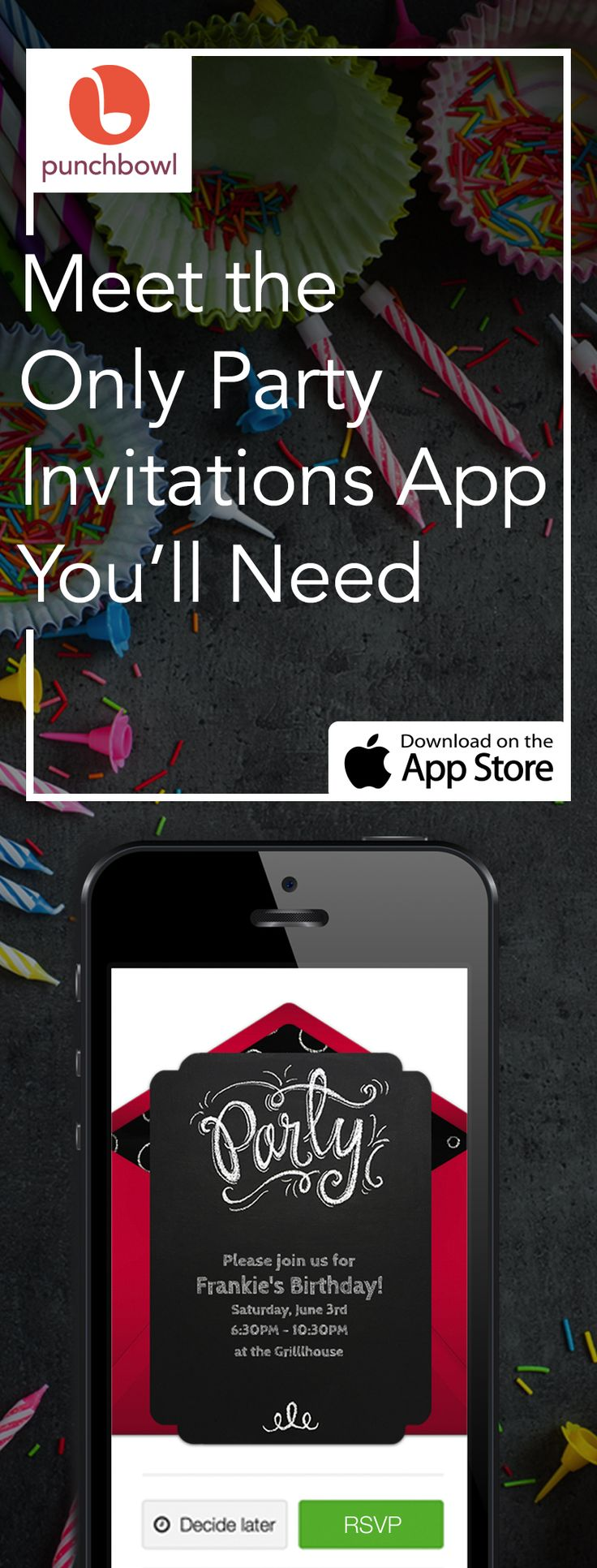 Paper invites are too formal, and emails are too casual. Get it just right with online invitations from Punchbowl. We've got everything you need for your party.       https://itunes.apple.com/us/app/punchbowl-online-invitations/id628215241?mt=8/?utm_source=Pinterest&utm_medium=100.1P