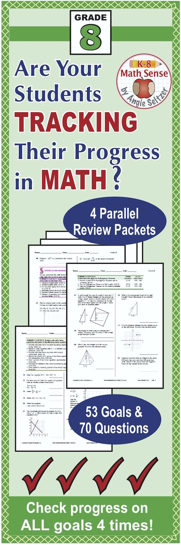 This bundle includes four 70-question comprehensive review packets aligned to Grade 8 goals. The four forms (A-D) are parallel and can be used as pre- and post-tests, review, or quick reference. Questions are grouped by domain and aligned to a list of Common Core goals for self-assessment. The Preview shows Form A. Take a look! ~by Angie Seltzer