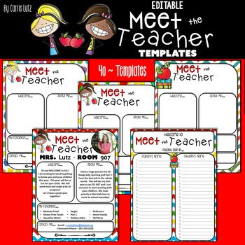 WOW your new parents with these adorable, colorful, EDITABLE Meet the Teacher Templates! Personalize the page by adding a picture of yourself! Say Cheese! There are 40 Templates to choose from! This means you have soooo many choices...