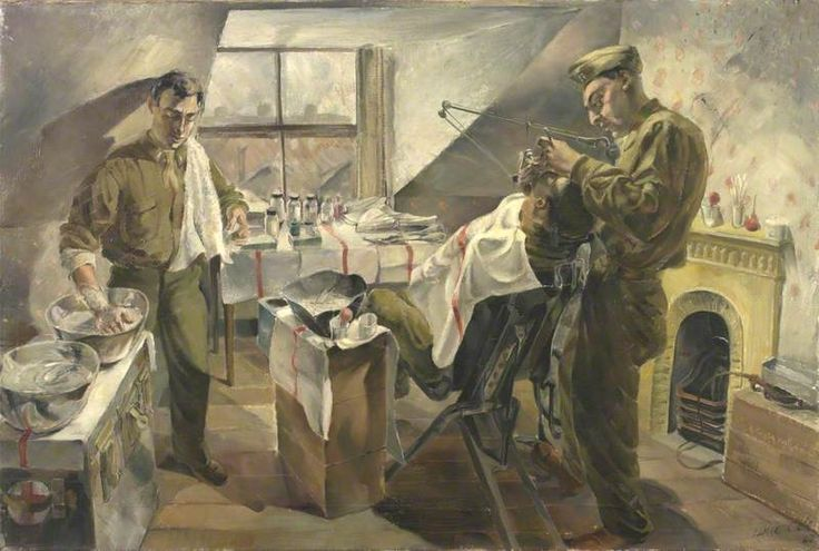 "Regimiento Médico 16: Servicio Dental operando durante un ataque (""16th US Medical Regiment: Field Dental Service operating during an attack""). Leslie Cole. 1942. Localización: colección particular. https://painthealth.wordpress.com/2016/04/28/regimiento-medico-16-servicio-dental-operando-durante-un-ataque/"