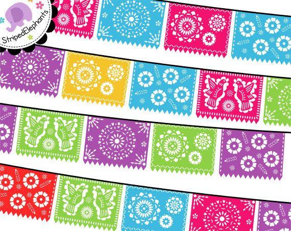 Mexikanische Fahnen ClipArt  Digital Clip Art  von StripedElephants
