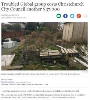 A building group that has already cost the Christchurch City Council $166,000 owes it another $37,000.  The council last week wrote off $165,831 owed by Global Developments (New Zealand) Ltd (now in liquidation and renamed Derby Grey Ltd) for development contributions on 12 units in Worcester St, Linwood.