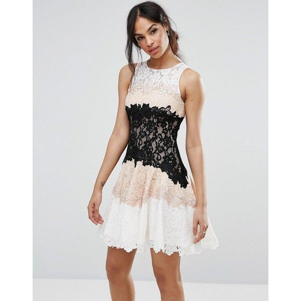 Forever Unique Lace Panneled Mini Dress ($190) ❤ liked on Polyvore featuring dresses, beige, mini cocktail dress, lace mini dress, lace dress, beige cocktail dress and short cocktail dresses