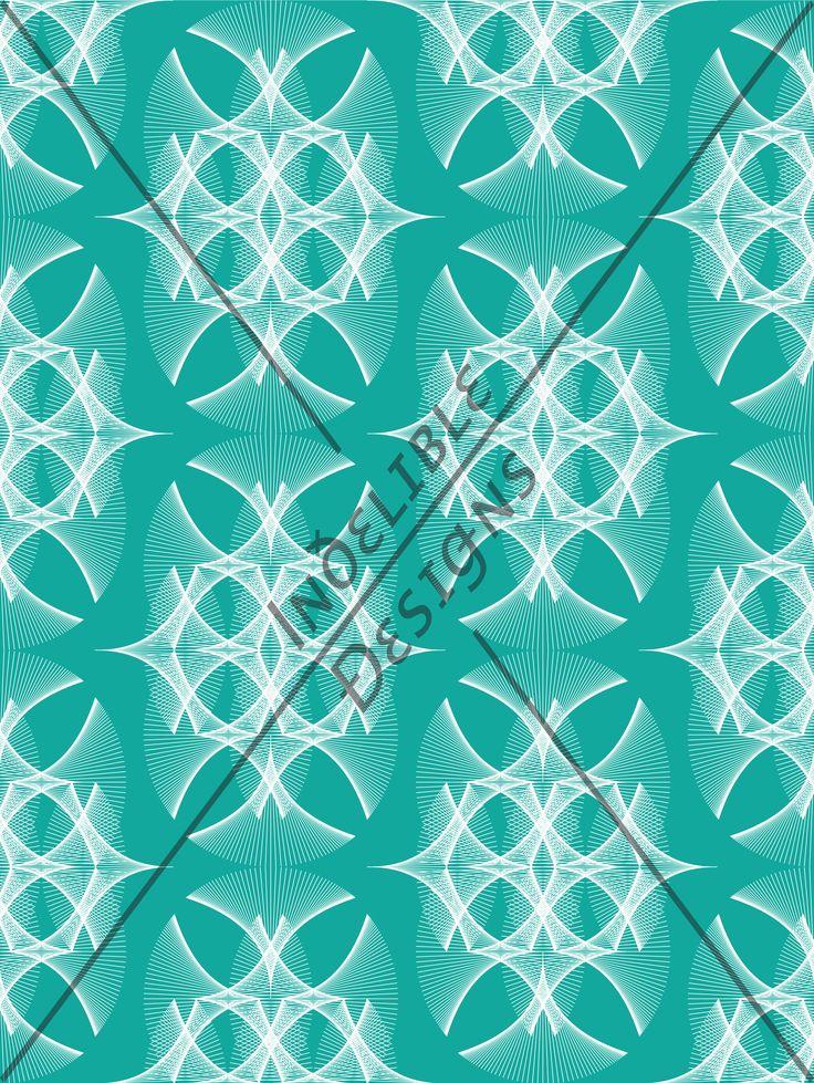 ID#30CE — Iɴðɛʟɪʙʟɛ Ðɛsɪǥɴs #screenprint #printdesign #textiledesign #textileprint #turquoise #aqua #linear #fan #layer #white #perspective #line