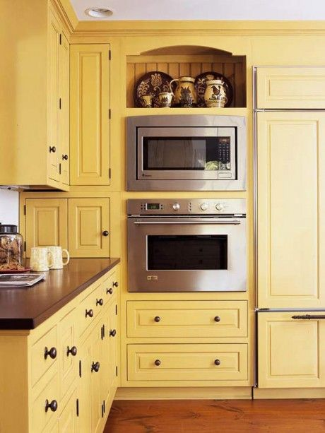 Colored Kitchen Cabinets... interesting color ideas - and I like this pantry/oven/fridge combo: Yellow Kitchens Cabinets, Kitchens Design, Cabinets Colors, Kitchens Colors, Design Ideas, Corner Cabinets, Yellow Cabinets, Wall Ovens, Kitchen Cabinets