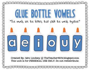 Glue Bottle Vowels - FREE Printables
