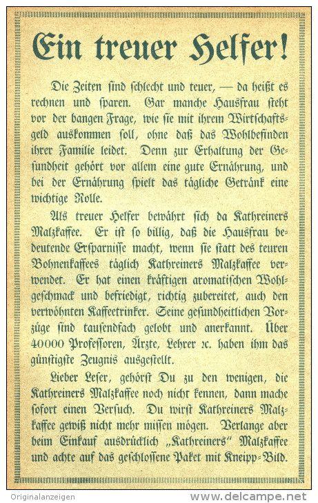 Original-Werbung/ Anzeige 1913 - KATHREINERS MALZKAFFEE - ca. 180 x 115  mm