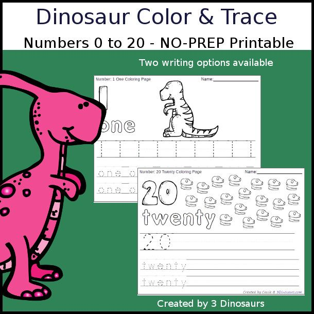 No-Prep Dinosaur Themed Number Color And Trace - Easy No-prep Printables  With A Fun Dinosaur Themed Theme… Kids Learning Numbers, Counting Books,  Numbers For Kids
