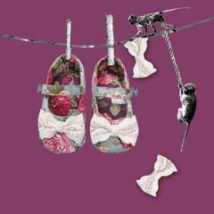 Stasia Elsie Baby Pram Shoes- Artwork
