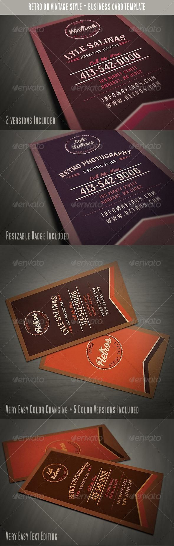 Vintage Style Business Card Retro Business Card Vintage Business Cards Business Cards Creative Templates