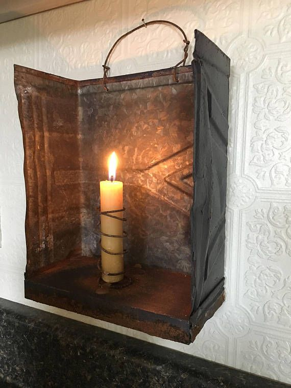 Primitive Lantern,Early Look Primitive Lighting: This tin candle lantern is made from a Vintage tin shingle with distressed wood base and rustic wire candle holder with a rusty wire handle for carrying and hanging. Set this primitive Lantern on a table or shelf , hang on a hook