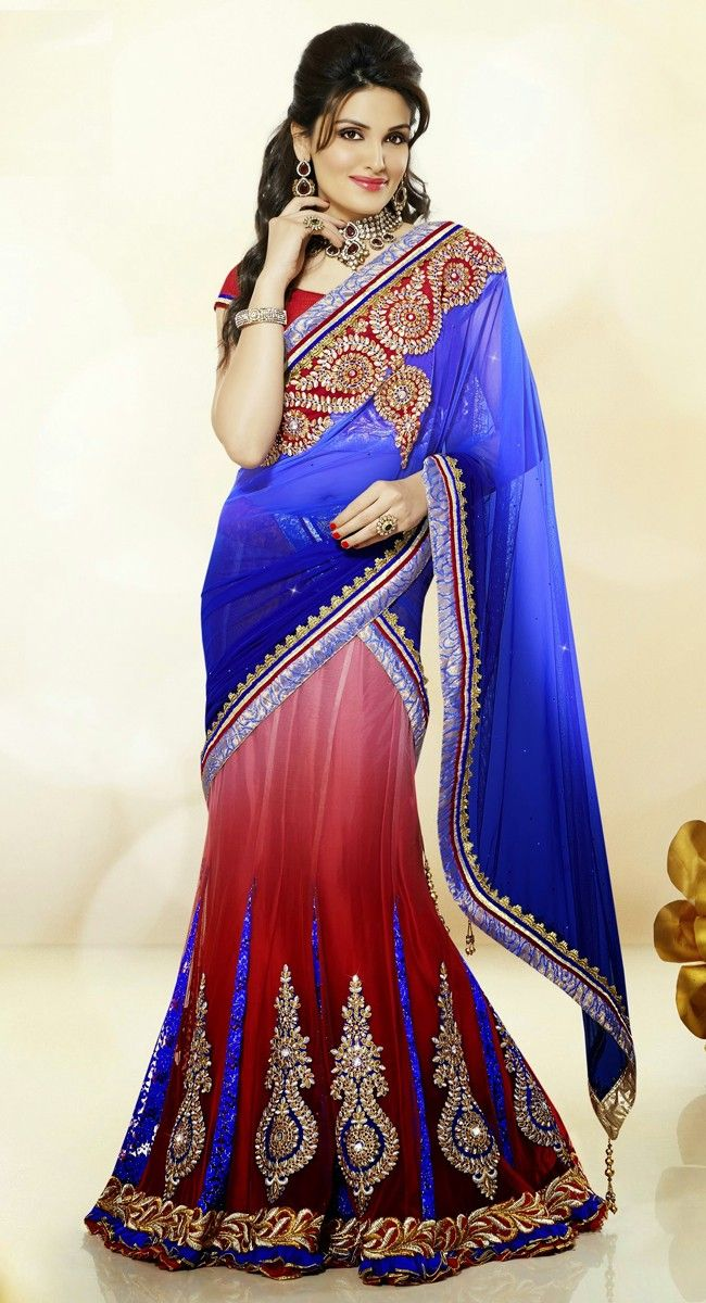 Blue and Red color Party Wear #LehngaCholi-Jacquard Lehenga Choli