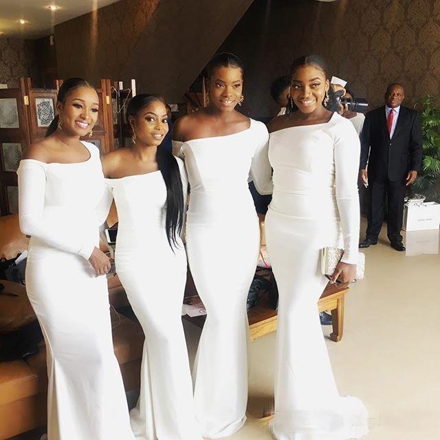 Elegant White Long Sleeve Mermaid Long Satin Bridesmaid Dresses Designer Bridesmaid Dresses Cheap Bridesmaid Dresses Online White Bridesmaid Dresses