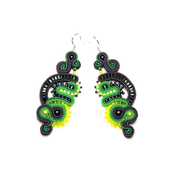 Soutache earrings green violet yellow shop jewelry handmade