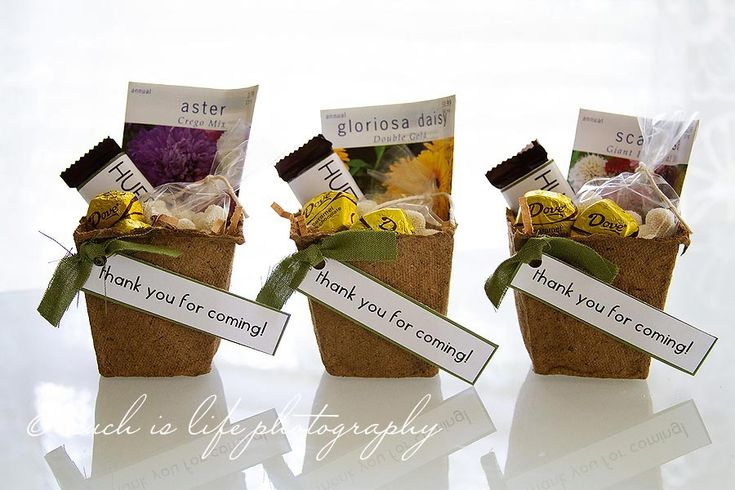 peat pot favors - so cute. This is part of a woodland baby shower. Very cute party! Very cute could be used for compost event.