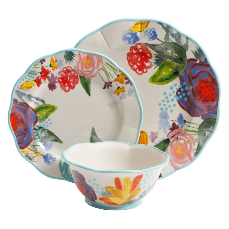 New The Pioneer Woman Floral 12pc Dinnerware Set Dinner Salad Plate Soup Bowl