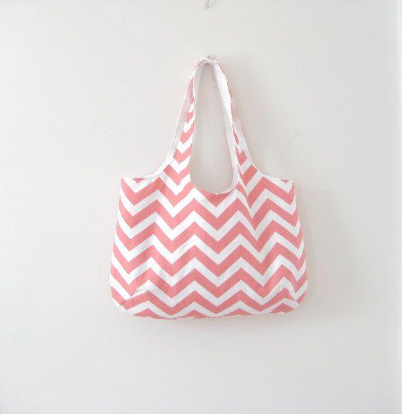 Coral Chevron Tote Bag Slouchy Beach Bag Gym Bag by moxiebscloset, $38.00