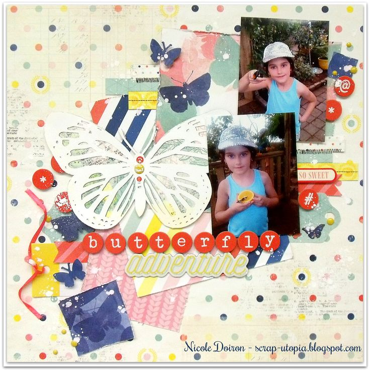 My DT reveal for Creative Scrappers based on Sketch #304! See more at http://scrap-utopia.blogspot.ca/2017/03/butterfly-adventure-creative-scrappers.html #scraputopia #scrapbooking #creativescrappers