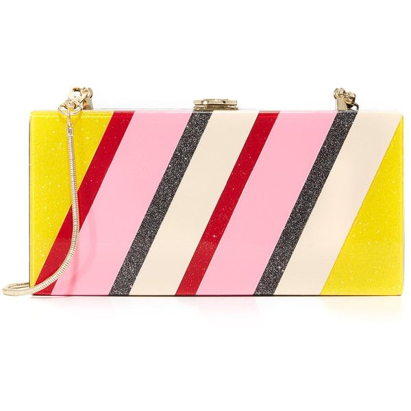 Milly Stripe Box Clutch ($295) ❤ liked on Polyvore featuring bags, handbags, clutches, striped purse, hard clutch, pink purse, pink handbags and stripe purse