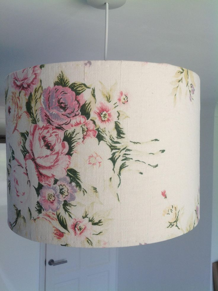 Lamp shade recovered vintage linen with fabulously faded cabbage roses pinks greens and faded yellow on creamy background by ReworkedHomewares on Etsy