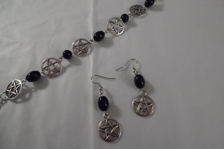 Black Onyx Gemstone Pentacle Jewelry Set - Bracelet & Earrings by HealingAuras on Etsy