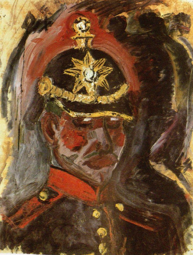 Otto Dix, Selbstbildnis mit Artilleriehelm (Self Portrait with Artillery Helmet), 1914