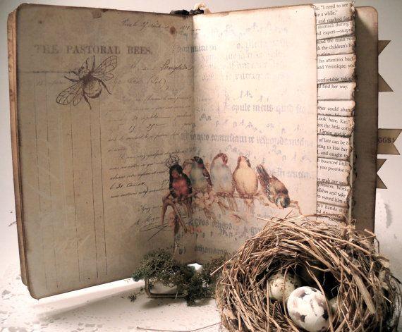 Bird Nest Journal, Nature Travel Moleskine,  Art Journal, Hand Made Bird Nest Nature, Journals and Notebooks via Etsy