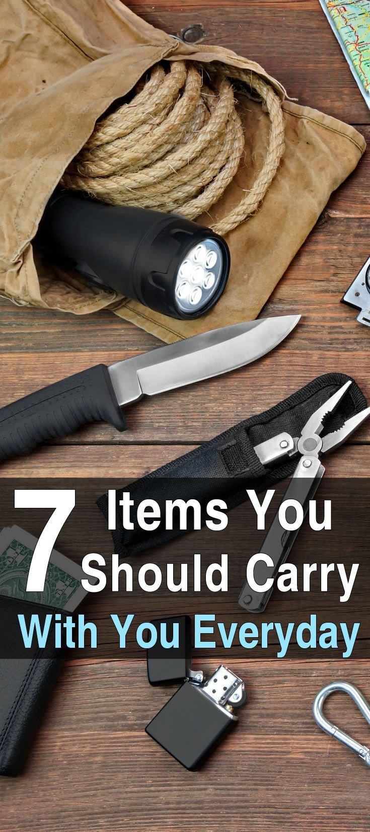 7 Items You Should Carry Every Day. In the following article, Scott from Graywolf Survival answers this question by telling you what he carries with him every day. He also explains why he carries the things he does. #EDC #Survival #Urbansurvivalsite