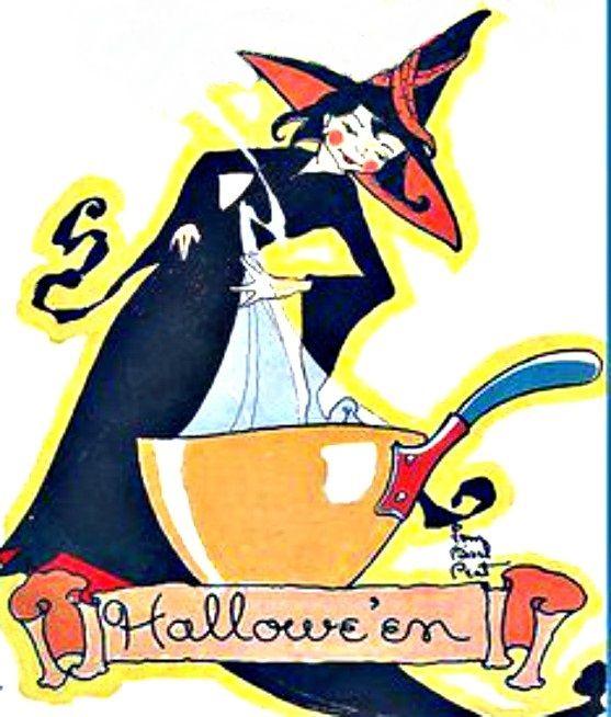 Crow And Cauldron Vintage Halloween: Vintage Halloween Witch, Cauldron